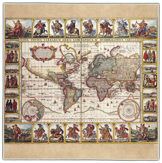 Ancient Map Pocket Square #2A