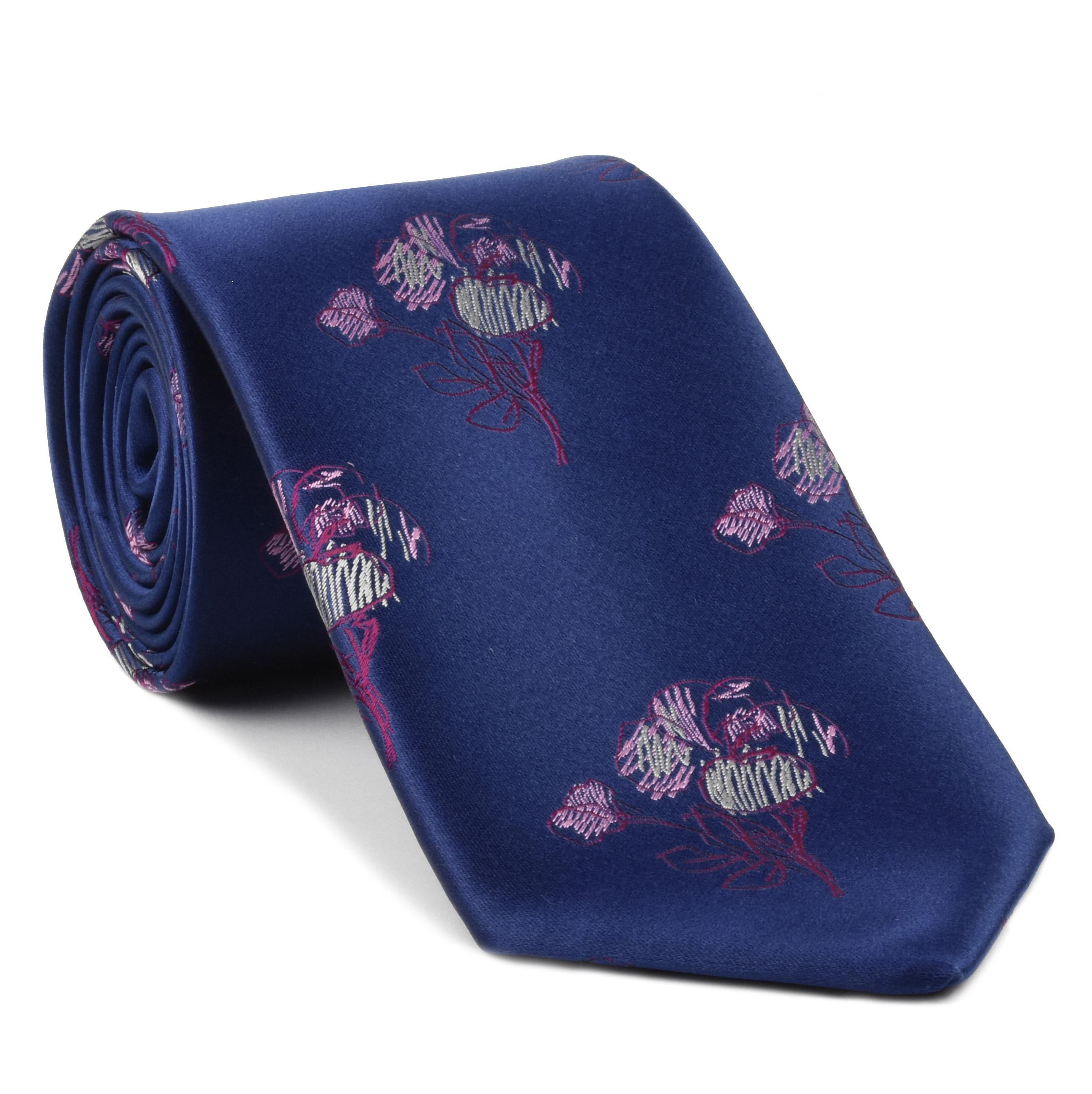 Dark red white pink on navy blue flower silk tie 24 dark red white pink on navy blue flower silk tie izmirmasajfo