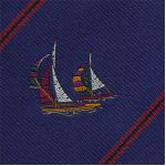 White / Red / purple Dark Green / Yellow & Black on Navy Blue Sailing Tie # 2