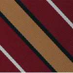 Suffolk Stripe Silk Tie #8Suffolk Stripe Silk Tie #8 - White, Black & Yellow Gold on Dark Red