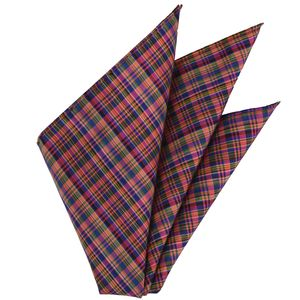 Thai Plaid Silk Pocket Square #3