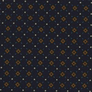 Sky Blue, Brown & White on Midnight Blue Macclesfield Print Silk Tie #244