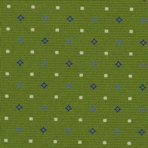 Sky Blue, Dark Blue & White on Young Leaf Green Macclesfield Print Silk Tie #257