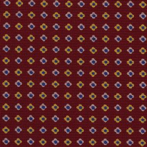 Dark Blue, White & Light Yellow on Burgundy Macclesfield Print Silk Tie #258