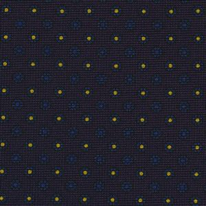 Blue & Yellow on Midnight Blue Macclesfield Print Silk Tie #267