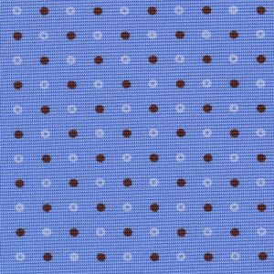 Chocolate & White on Sky Blue Macclesfield Print Silk Tie #269