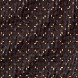 Sky Blue / Blue & White on Dark Chocolate Macclesfield Print Silk Tie #280