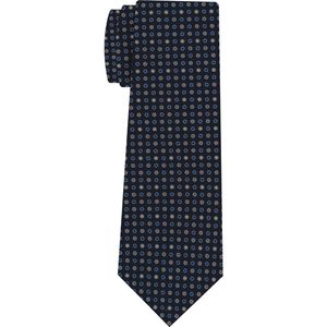 Sky Blue, White, Gray & Pink on Midnight Blue Macclesfield Print Silk Tie #MCT-288