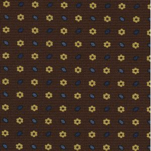 Dark Blue, Sky Blue & Light Yellow on Dark Chocolate  Macclesfield Print Silk Tie #290