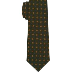 Sky Blue, Red, Gold & Light Yellow on Olive Green Macclesfield Print Silk Tie #293