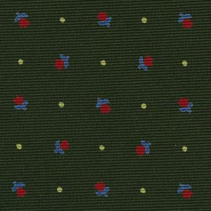 Red, Sky Blue & Off-White on Dark Green Macclesfield Print Silk Tie #294