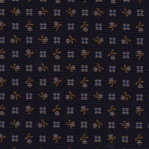Burnt Orange, Blue & Silver with a touch of Pink on Midnight Blue Macclesfield Print Silk Ties #MCT-301