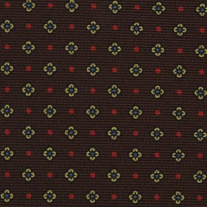 Sky Blue, Red & Light Yellow on Dark Chocolate Macclesfield Print Silk Ties #MCT-305