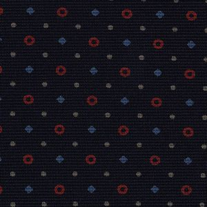 Sky Blue, Red & White on Midnight Blue Macclesfield Print Silk Tie #MCT-323