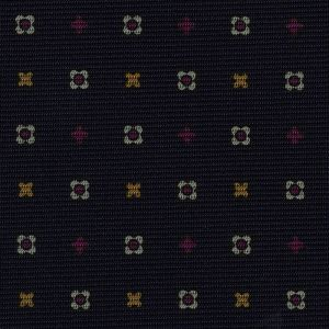 Yellow Gold, Purple & White on Midnight Blue Macclesfield Print Silk Tie #MCT-325