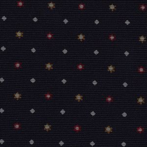 Red, White & Burnt Orange on Midnight Blue Macclesfield Print Silk Tie #MCT-326