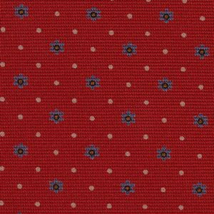 Sky Blue, Burnt Orange & White on Red Macclesfield Print Silk Tie #MCT-328