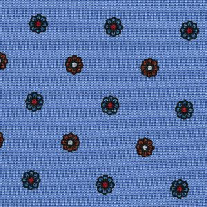 Red, Light Blue & White on Sky Blue Macclesfield Print Silk Ties #MCT-332