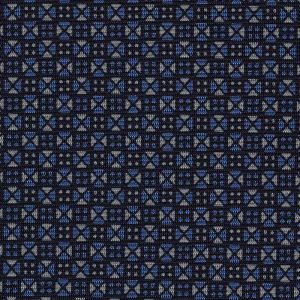 Sky Blue & Whit on Midnight Blue Macclesfield Print Silk Tie #MCT-341