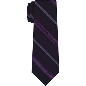 Purple & Lavender on Dark Navy Blue Striped Silk Tie #SST-18