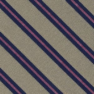 Navy Blue & Pink on Soft Gold Striped Silk Tie #SST-23
