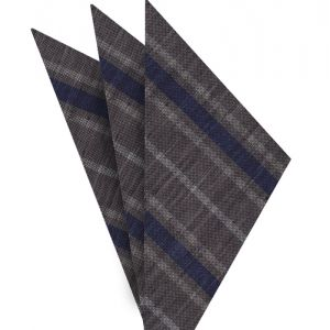 Navy Blue & White on Charcoal Gray Striped Linen/Cotton Silk Pocket Square #1