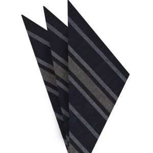 Off-White & White on Midnight Blue Striped Linen/Cotton Silk Pocket Square #2