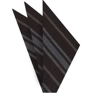 Off-White & White on Dark Chocolate Striped Linen/Cotton Silk Pocket Square #3