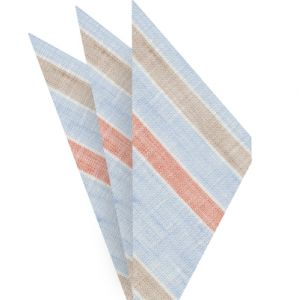 Sky Blue, Burnt Orange, Dark Sand & White Linen Striped Pocket Square #1