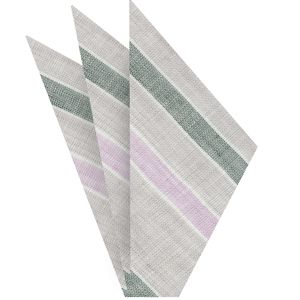 Light Gray, Forest Green, Lavender & White Linen Striped Pocket Square #3