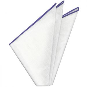 White with Bluish Purple Contrast Edges Belgian Linen Pocket Square