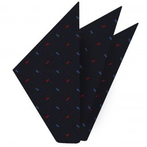 Sky Blue & Red On Midnight Blue Macclesfield Print Silk Pocket Square #MCP-202