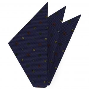 Sky Blue, Red, Green, & Light Yellow on Dark Navy Blue Macclesfield Print Silk Pocket Square #MCP-211