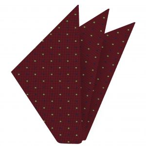 Blue, Off-White & Dark Gold on Burgundy Macclesfield Print Silk Pocket Square #MCP-214