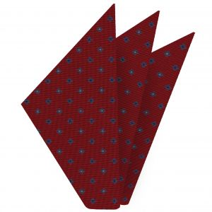 Sky Blue, Blue & Off-White on Red Macclesfield Print Silk Pocket Square #MCP-216