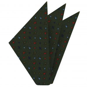 Dark Blue, Sky Blue, Red & Olive Green on Forest Green Macclesfield Print Silk Pocket Square #MCP-217