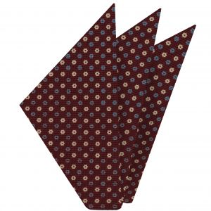 Powder Blue, Off-White on Burgundy Macclesfield Print Silk Pocket Square #MCP-225