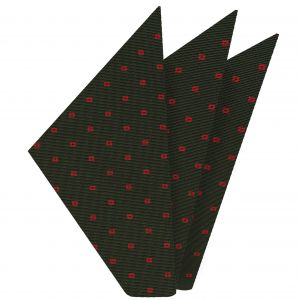 Red on Olive Green Macclesfield Print Silk Pocket Square #MCP-227