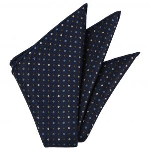 Sky Blue, Brown & White on Midnight Blue Macclesfield Print Silk Pocket Square #MCP-228