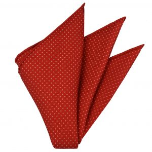 Off-White on Red Macclesfield Print Silk Pocket Square #MCP-230