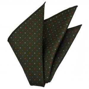 Sky Blue, Light Blue, Red & White on Olive Green Macclesfield Print Silk Pocket Square #MCP-234