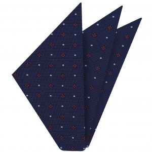 Dark Pink, Blue & White on Navy Blue Macclesfield Print Silk Pocket Square #MCP-236