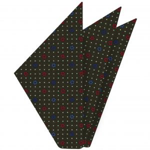 Red, Blue & White on Dark Olive Green Macclesfield Print Silk Pocket Square #MCP-241