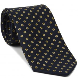 Sky Blue, Light Yellow & Mandarin on Midnight Blue Macclesfield Print Silk Tie #259