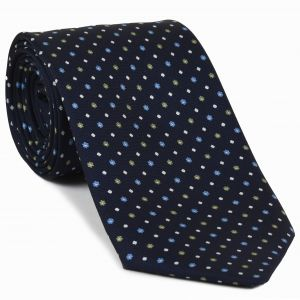 Sky Blue, White & Light Yellow on Midnight Blue Macclesfield Print Silk Tie #261