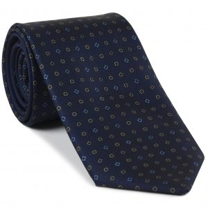 Sky Blue, White & Silver on Midnight Blue Macclesfield Print Silk Tie #265