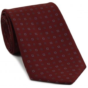 Sky Blue & Gray on Burgundy Macclesfield Print Silk Tie #MCT-268