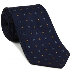 Sky Blue, White & Burnt Orange on Midnight Blue Macclesfield Print Silk Tie #272