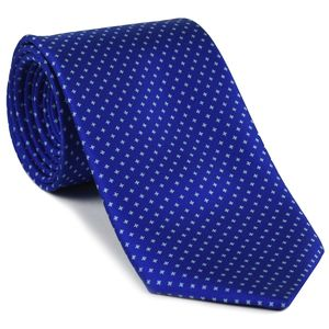 White on Dark Blue Macclesfield Print Silk Tie #275