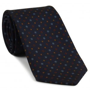 Sky Blue, Red, Burnt Orange & White on Midnight Blue Macclesfield Print Silk Tie #276